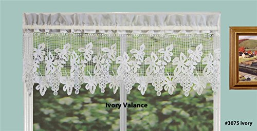 Grapes Window - Creative Linens Grapes Knitted Lace Kitchen Curtain Valance Ivory 1PC