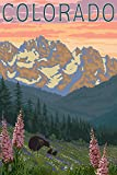 Colorado - Bears and Spring Flowers (9x12 Art Print, Wall Decor Travel Poster)