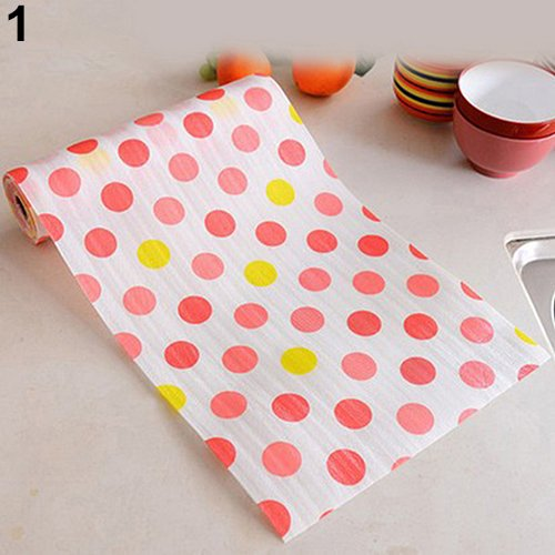 Maserfaliw ?Drawer Printing Mat 300cm Cute Polka Dots Shelf Paper Cabinet Drawer Liner Kitchen Table Mat - Pink Dot, Essential for Home Life, Can Be Used As ()