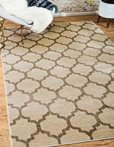 Unique Loom Trellis Collection Moroccan Lattice Beige Home Décor Area Rug (10' x 13')