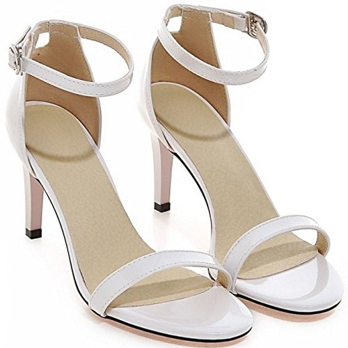 COOLCEPT Mujer Moda Strappy Zapatos Punta Abierta Al Tobillo Tacon De Aguja Sandalias Blanco