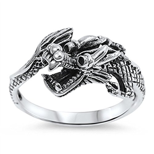 (Chinese Dragon Good Luck Fashion Ring New .925 Sterling Silver Band Size 6)