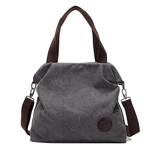 Gris Lady Lienzo Handbag Gwqgz Gray Casual wIzxEq