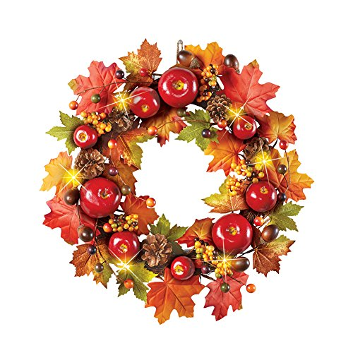 es, Leaves, Berries and Pinecones Fall Wreath for Front Door or Indoor, Red, Green, Orange, Yellow and Brown Accents ()