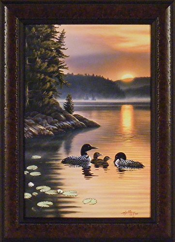 (Edge Of The Sun by Rick Kelley 16x22 Loons Lake Sunrise Sunset Framed Art Print Wall Décor Picture)