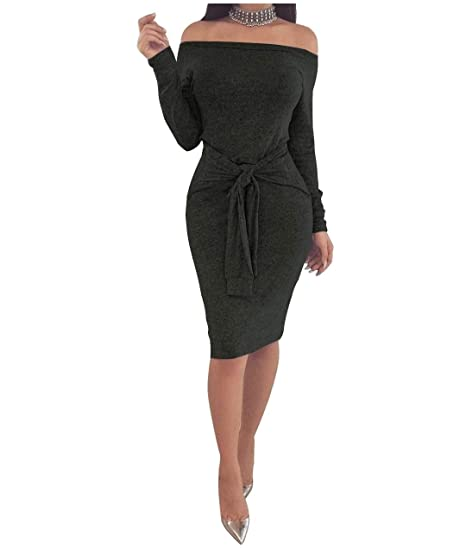 c1f858ef573 Fieer Womens Strappy One Step Long-Sleeve Silm Off-Shoulder Pencil Long Dress  Black