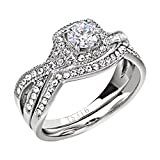FlameReflection Stainless Steel Women's Infinity Wedding Ring Set Halo Round Cut Cubic Zirconia size 7 SPJ