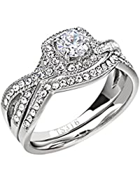 Stainless Steel Women's Infinity Wedding Ring Set Halo Round Cut Cubic Zirconia Size 5-11 SPJ