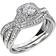 FlameReflection Stainless Steel Women's Infinity Wedding Ring Set Halo Round Cut Cubic Zirconia Size 5-11 SPJ