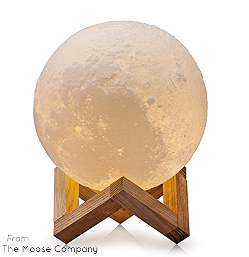 Moon Lamp by The Moose Company | 3D Printed Glowing Astronomy light With Wood Stand | Dimmable LED Touch - 50 Glass Curved
