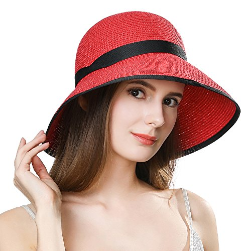 Red Hats Wide Brim Hat - Womens Straw Sun Hat Fedora Summer Beach Accessories Wide Brim Packable Panama Cloche Floppy Red