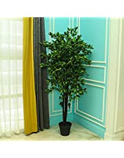 YATAI Nearly Natural Artificial Ficus Plant 2 Meters Tall Artificial Tree in Plastic Pot with Moss Grass Arrangement For Home Indoor Outdoor Decoration – Garden Plants – Office Plants – Plastic Plants