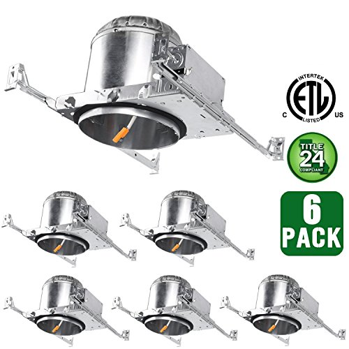 Hykolity 6 Inch New Construction LED Can TP24 Connector IC Rated Air Tight Recessed Aluminum Housing for LED Downlight Retrofit Kit-ETL Listed and CA Title 24 Compliant-Pack of 6 (Recessed Airtight Housing Type Lighting)