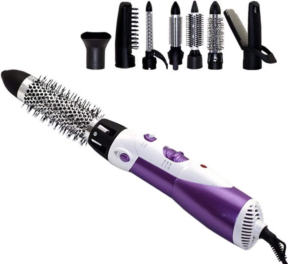 7 en 1 peine de pelo giratorio del pelo del pelo del cepillo de pelo del rizador del cabello rollos de plancha de pelo