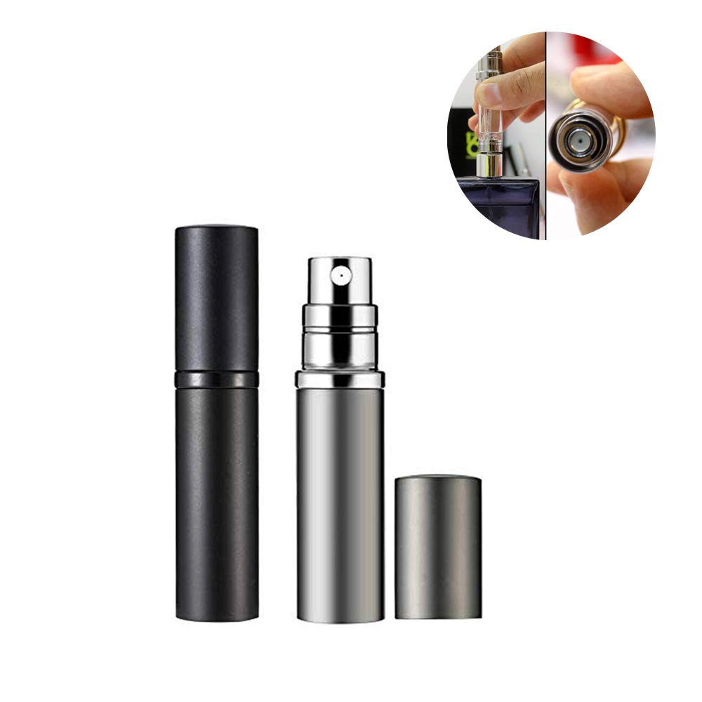 Yeejok Refillable Perfume Bottle Atomizer for Travel, Portable Easy Refillable 5ml Perfume Spray Pump Bottle for Men and Women – Black and Silver