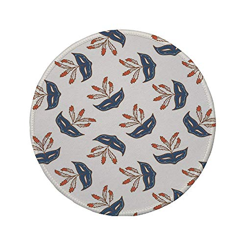 Non-Slip Rubber Round Mouse Pad,Masquerade,Party Mask Mid Century Disguise Night Costume Event Illustration Print,Cream and Bluegrey,7.87