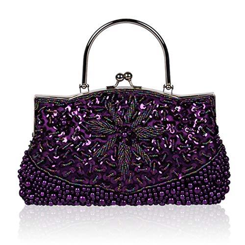 d2e611bc3d EROUGE Beaded Sequin Collection Antique Flower Evening Purse Large Designer  Clutch Bag (Purple)