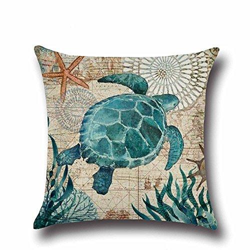 oFloral Turtle Pillow Cover,Cotton Linen Square Mediterranean Sea Home Sofa Decorative Throw Pillow Case Cushion Cover 18