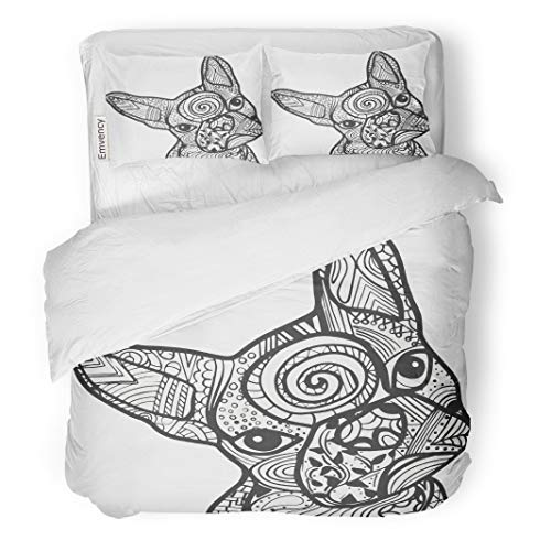 (Semtomn Decor Duvet Cover Set King Size Boston Terrier French Bulldog Doodle Coloring Page in Black 3 Piece Brushed Microfiber Fabric Print Bedding Set)