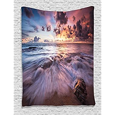 Ambesonne Seaside Decor Collection, Sea Waves Rocks Dramatic Colorful Clouds on the Beach at Sunset Seascape Picture, Bedroom Living Room Dorm Wall Hanging Tapestry, Marble Blue Peach Grey