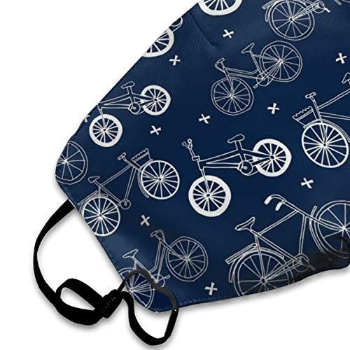Hand Drawn Navy Blue Kids Bikes Bicycles PM2.5 Mask, Adjustable Warm Face Mask Unique Cover Filters Blocking Pollen Pollution Germs,Can Be Washed Reusable Pollen Masks Cotton Mouth Mask for Men Women