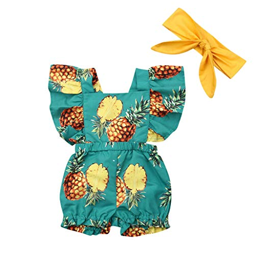 (Toddler Baby Girl Clothes Fruit Pine Print RuffleTrim Backless Romper Shorts Jumpsuit+Band 6M-3Y Green)