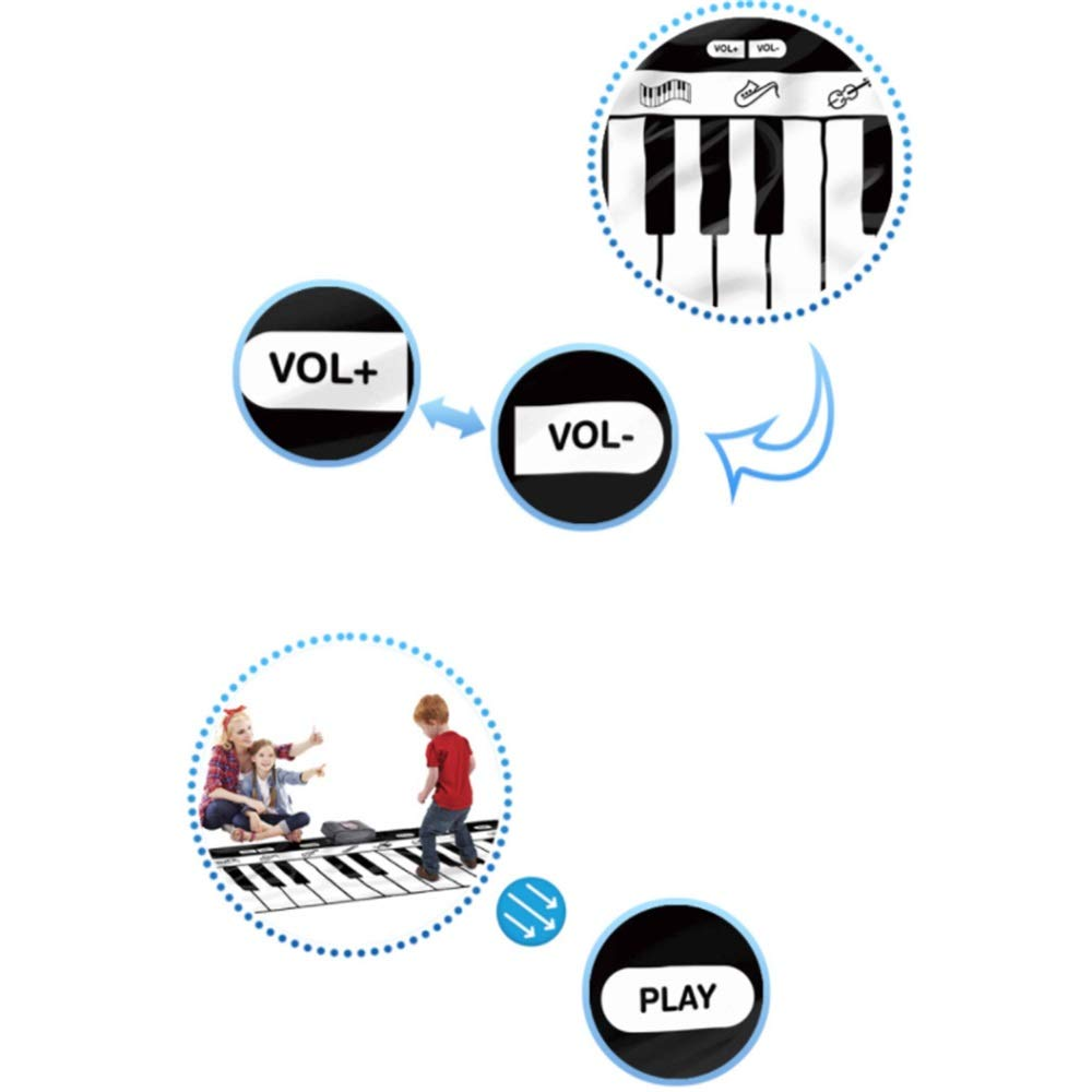 Play Keyboard Mat 71 Inches 24 Keys Giant Jumbo Sized Musical Keyboard Playmat With Record Playback Demo Play Adjustable Vol Foldable Floor Keyboard Piano Dancing Activity Mat Step And Play Instrument by GAOCAN-gq (Image #5)