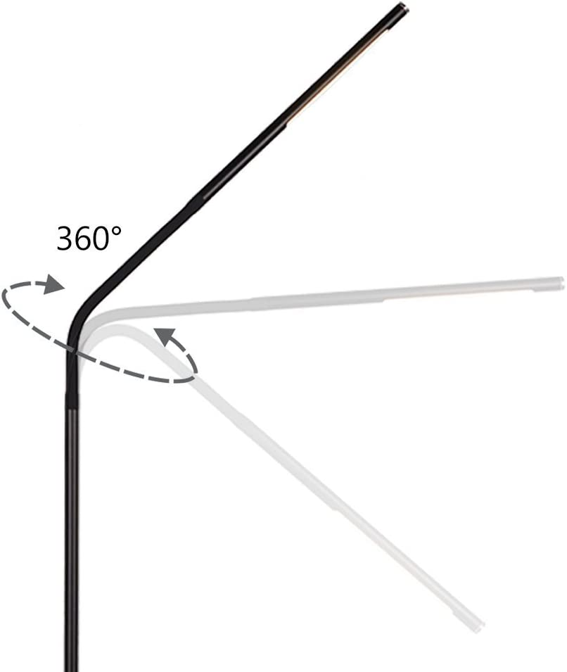 Dimmable LED Floor Lamp for Reading, Adjustable Long Gooseneck, Eye-Care Touch-Sensitive, 4 Color Modes with Stepless Dimming Brightness Black