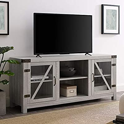 "Walker Edison Furniture Company Farmhouse Barn Glass Wood Universal Stand for TV's up to 64"" Flat Screen Living Room Storage Cabinet Doors and Shelves Entertainment Center, 58 Inch, Stone Grey - Dimensions: 25"" H x 59"" L x 16"" W Cable management features to run cords in the back of the TV stand Made from high-grade certified MDF for long-lasting construction - tv-stands, living-room-furniture, living-room - 51G44w8MusL. SS400  -"