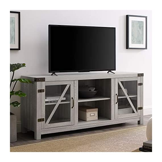 """Walker Edison Furniture Company Farmhouse Barn Glass Wood Universal Stand for TV's up to 64"""" Flat Screen Living Room Storage Cabinet Doors and Shelves Entertainment Center, 58 Inch, Stone Grey - Dimensions: 25"""" H x 59"""" L x 16"""" W Cable management features to run cords in the back of the TV stand Made from high-grade certified MDF for long-lasting construction - tv-stands, living-room-furniture, living-room - 51G44w8MusL. SS570  -"""