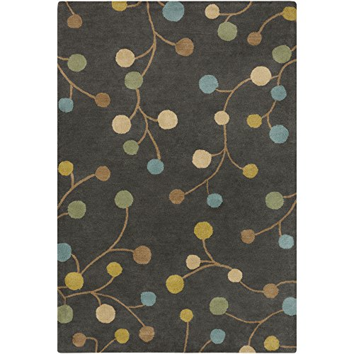 (Surya Athena ATH-5110 Contemporary Hand Tufted 100% Wool Pewter 9' x 12' Floral Area Rug)