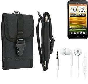 bolsa del cinturón / funda para HTC One X, negro + Auriculares | caja del teléfono cubierta protectora bolso - K-S-Trade (TM)