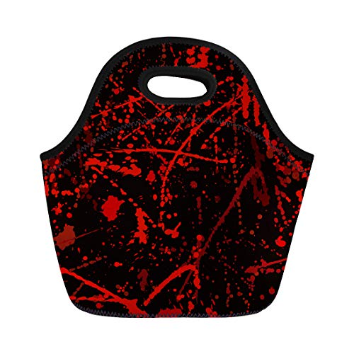 Semtomn Neoprene Lunch Tote Bag Red Horror Blood Stains Halloween Splatter Criminal Scene Abstract Reusable Cooler Bags Insulated Thermal Picnic Handbag for Travel,School,Outdoors,Work]()