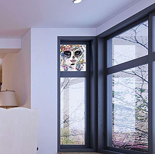 YOLIYANA Vinyl Window Film,Sugar Skull Decor,Work Well in The Bathroom,Halloween Girl with Sugar Skull Makeup Watercolor -