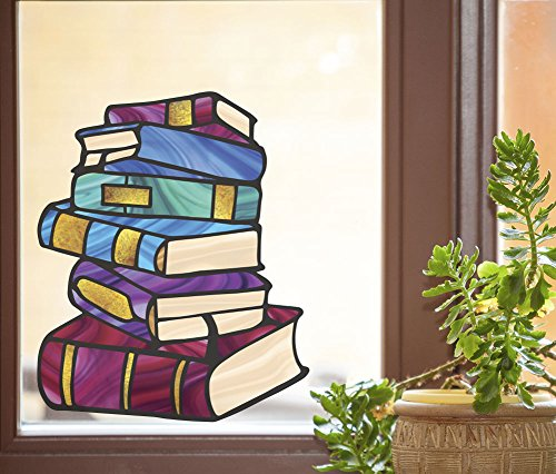 Books - Stack Of Books - Library - Stained Glass Style See-Through Vinyl Window Decal - Copyright 2015 Yadda-Yadda Design Co. (SIZE CHOICES) (LG 9.5
