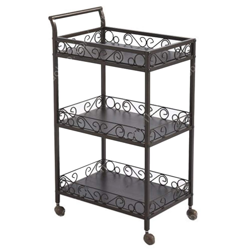Serving Trolley Cart Restaurant Movable 3 Tier Steel Pipe Bracket with Guardrail Iron Pulley Kitchen, Carrying Capacity 15 Kg (Color : Brown, Size : 49 x 33 x 83 cm)