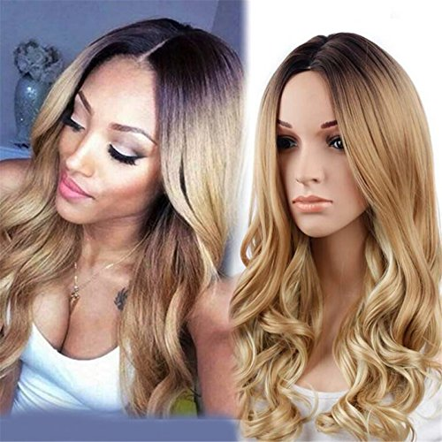 [ATOZWIG Synthetic Wigs for Black Women Blonde Ombre Wig Natural Cheap Hair Wig Blonde Wig Dark Roots Long Curly Female] (Cheap Color Wigs)