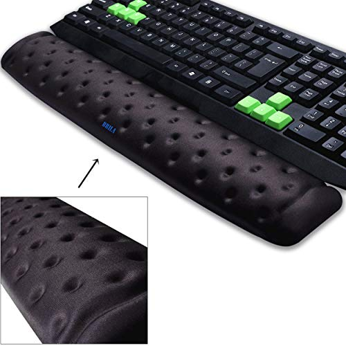 (BRILA Keyboard Wrist Rest Support Cushion Pad for Computer, Laptop, Office Work, PC Gaming - Memory Foam Gel with Massage Holes Design - Non-Slip Easy Typing Wrist Pain Relieve (Black Keyboard Pad))