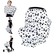 Losska Baby Car Seat Cover canopy nursing and breastfeeding cover (Black hearts and panda)