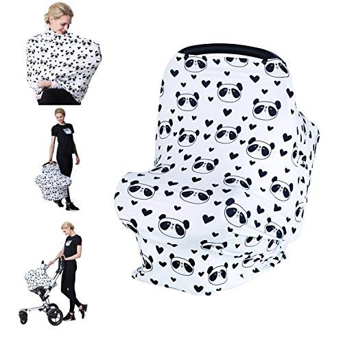 Losska Baby Car Seat Cover canopy nursing and breastfeeding cover (Black hearts and panda)