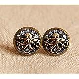 Steampunk Octopus Earrings, Stud Earrings, Bronzen women Earrings,Antique Rouond Glass Stud earrings,Bezel