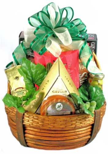 Fathers Day Gift Basket | Caviar, Smoked Salmon, Cheese, Crackers, Nuts and More ()