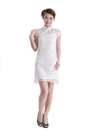 6460328ca Jtc Women's White Lace Chinese Short Cheongsam Dress 1pc at Amazon ...