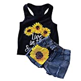 puseky Baby Toddler Girl Summer Clothes Sunflower Vest Tops + Denim Shorts Outfits (3-4T)