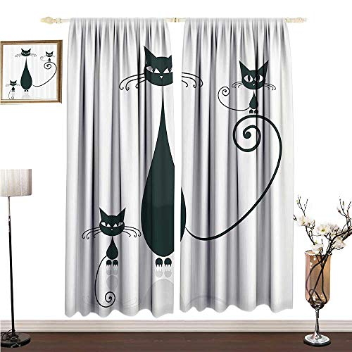 Anshesix Simple Curtain Cat Lover Decor Collection Cat Silhouette Mom and Kids Animals Simplicity Halloween Decorative Illustration W108 xL108 Drapes for Living ()