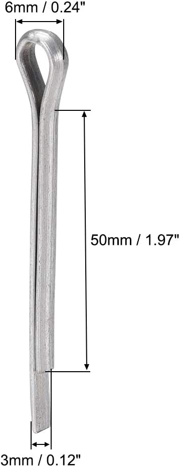 5//32 inch x 2 23//64 inch 4mm x 60mm uxcell Split Cotter Pin Carbon Steel 2-Prongs Silver Tone Fastener Clip Key 50Pcs