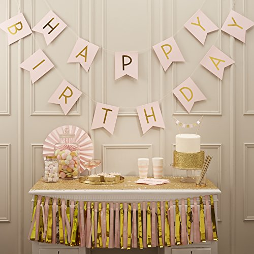 Ginger Ray Pastel Perfection and Gold Foiled Happy Birthday Bunting Banner, Pink -