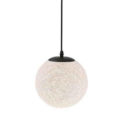 MagiDeal Lámpara de Techo Forma de Bola de Tela Tejida de Mimbre Luz Colgante Interior 20CM Decoración de Cafetería de Restaurante de Hogar - Blanco