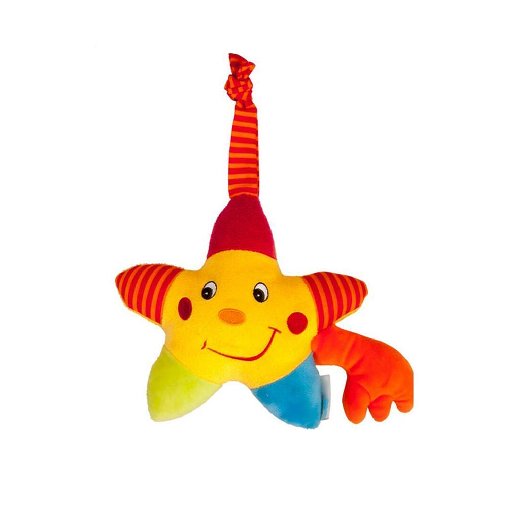 Yevison Star Baby Hanging Bell Wind-up Musical Stuffed Stroller Crib Hanging Bell Plush Toy Gift for Infant 1pc Pentagram Star Pattern Durable and Useful