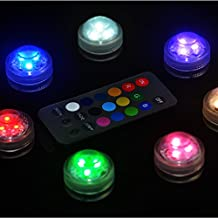 Kitosun 3CM Mini RGB Multicolors LED Submersible Floralyte Candle Light with Remote Controller for Wedding, Centerpieces, Vases, Tank, Pond, Balloons Lighting (set of 10-lights + 10remote)